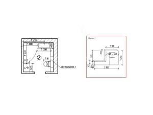 Расстановка мебели в ванной и фрагмент конструкции инсталляции.